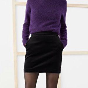 Velvet mini pencil skirt